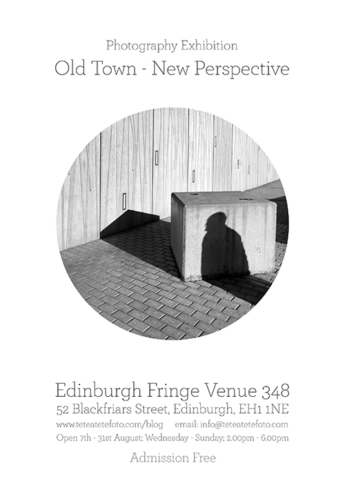 man's shadow on Scottish Parlaiment building, Edinburgh Fringe Photography Exhibition Poster 2015