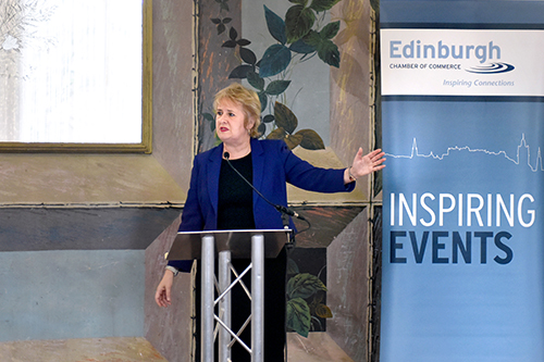 Roseanna Cunningham MSP speaking, corporate event photography, waldorf astoria edinburgh, the celedonian
