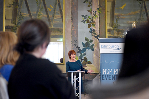 Nora Senior Speaking, corporate event photography, waldorf astoria edinburgh, the celedonian