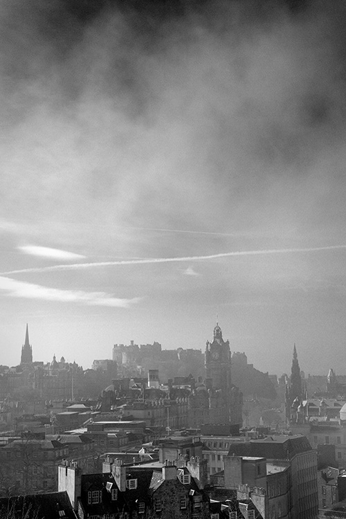 A misty Edinburgh Skyline seen from Calton Hill