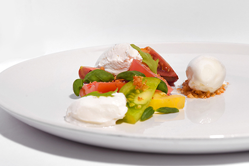 tomato, goat curd and basil sorbet, 10 Hill Place Restaurant