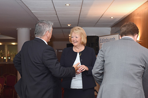 Ann Budge with Edinburgh Chamber of Commerce members at Tynecastle