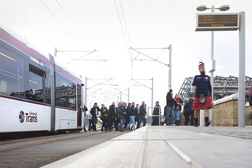 edinburgh trams during rugby international days