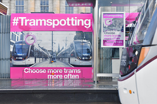 tramspotting signage for edinburgh trams